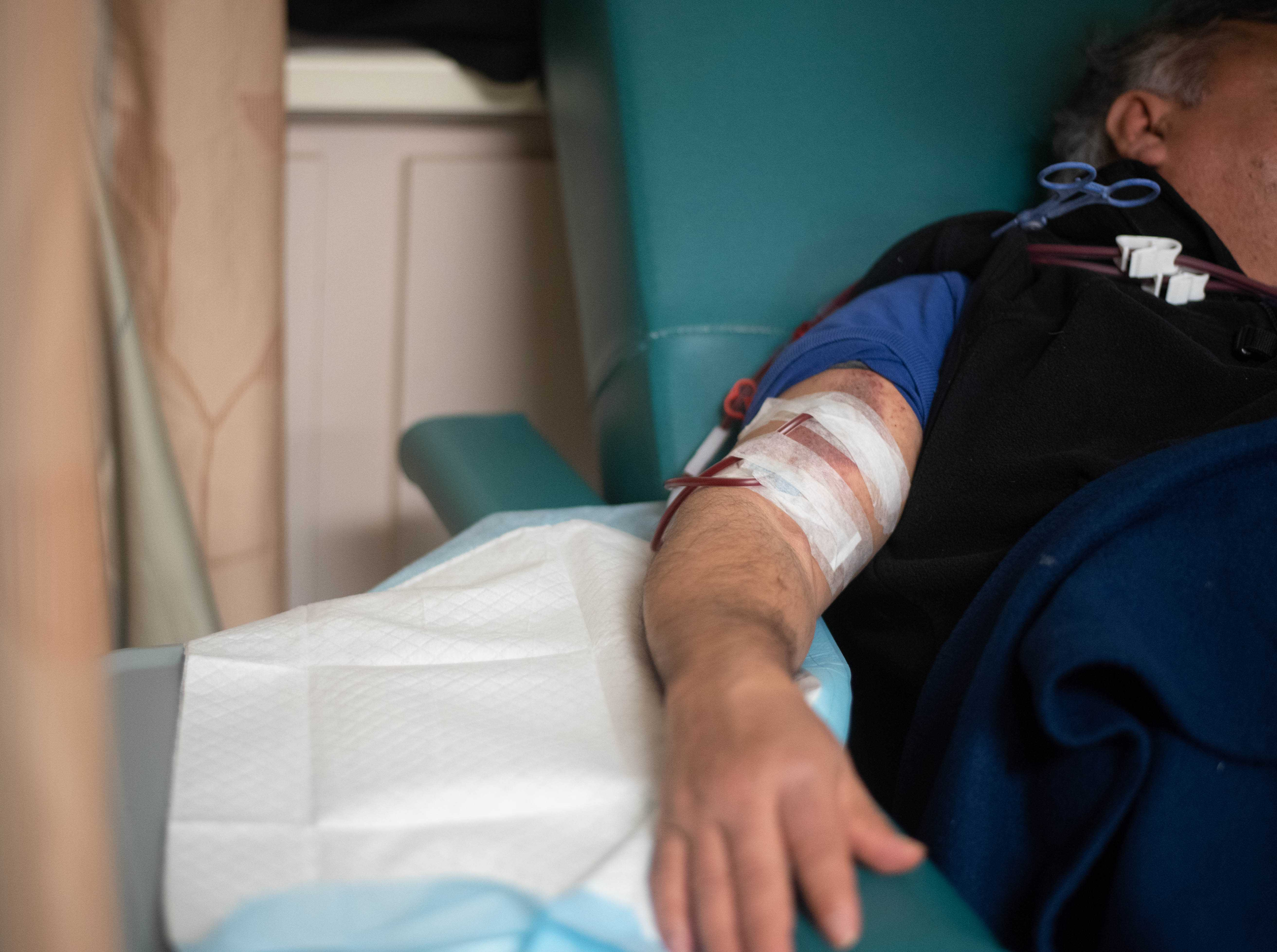 Daniel, a 59-year-old undocumented immigrant with kidney failure, undergoes dialysis at a North Jersey clinic in March.