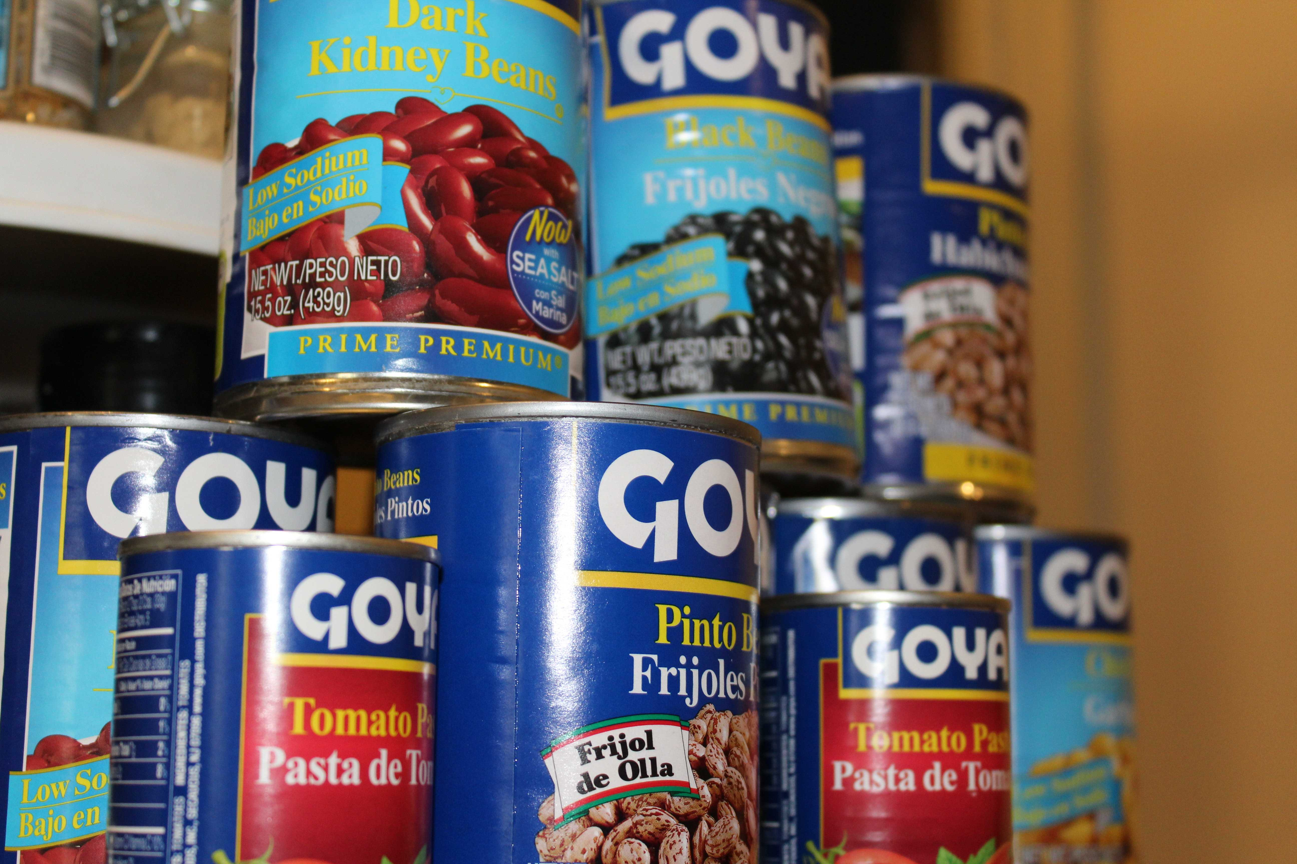 Goya food cans.