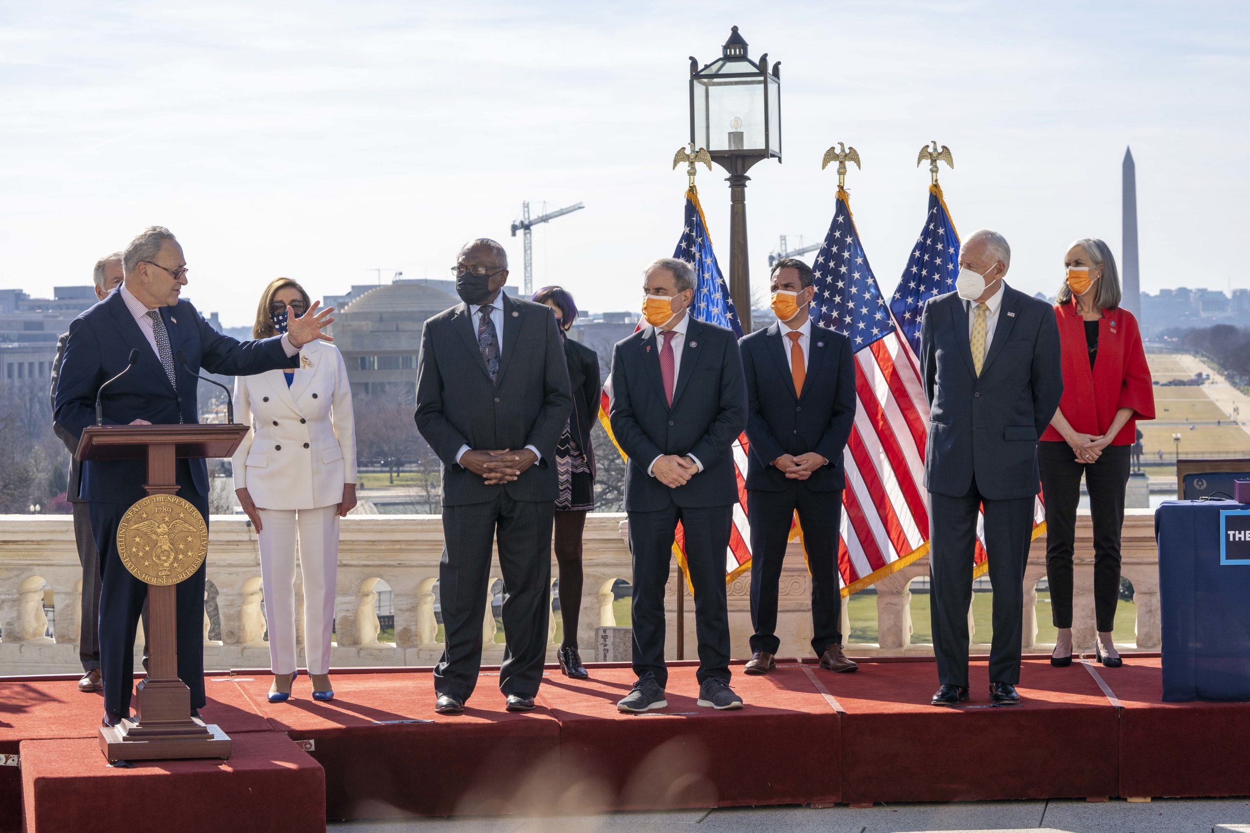 Congressional Democrats at a press conference in March 2021.