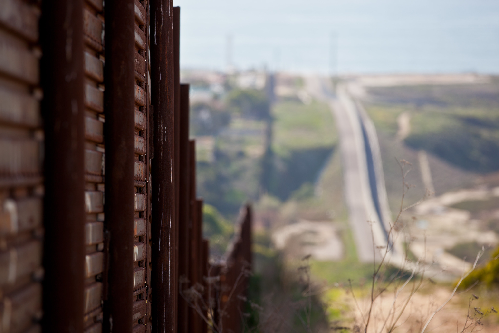 A close-up view of the fence along the U.S. border